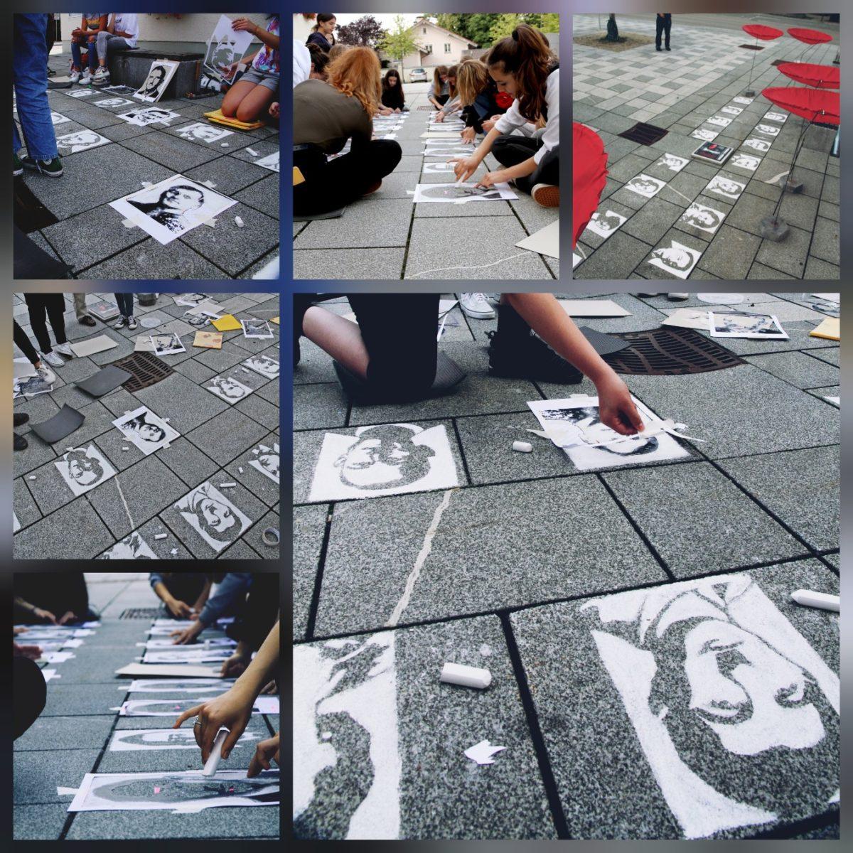 Kunstaktion der Klasse 9d – zur Erinnerung an die Opfer der Penzberger Mordnacht vom 28. April 1945